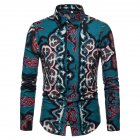 Men National Style Fashion Digital Printing Casual Long Sleeve T-shirt green_S