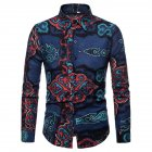 Men National Style Fashion Digital Printing Casual Long Sleeve T-shirt blue_2XL