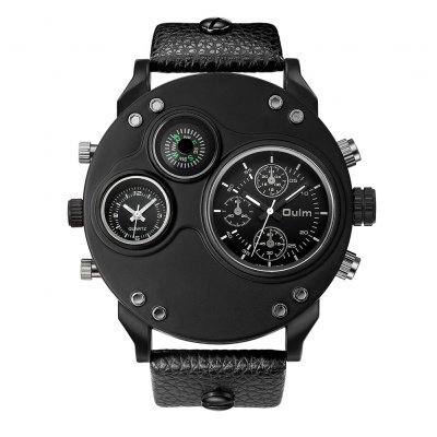 Men Oulm Quartz Sports Watch Black