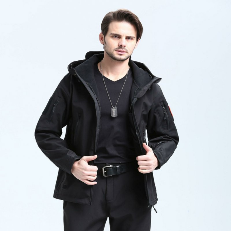 Men Outdoor 3 in 1 Waterproof Fleece Jacket black_S