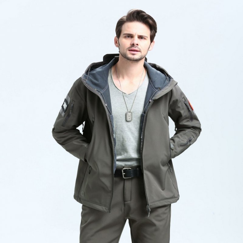 Men Outdoor 3 in 1 Waterproof Fleece Jacket gray_M