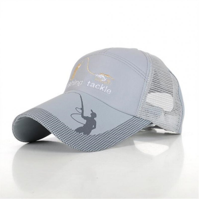 Men Outdoor Baseball Cap Sun Screen Mesh Hat Fishing Breathable Hat gray_adjustable