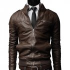 Men PU Leather Motorcycle Jackets Fashionable Autumn Winter Outwear Coat Top Dark brown L