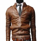 Men PU Leather Motorcycle Jackets Fashionable Autumn Winter Outwear Coat Top Light Brown XL