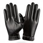 Men PU Leather Winter Driving Warm Gloves brushed warm gloves Leather gloves_One size