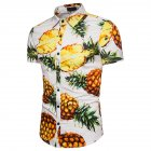 Men Pineapple Printed Casual Short Sleeve Beach Shirt white M