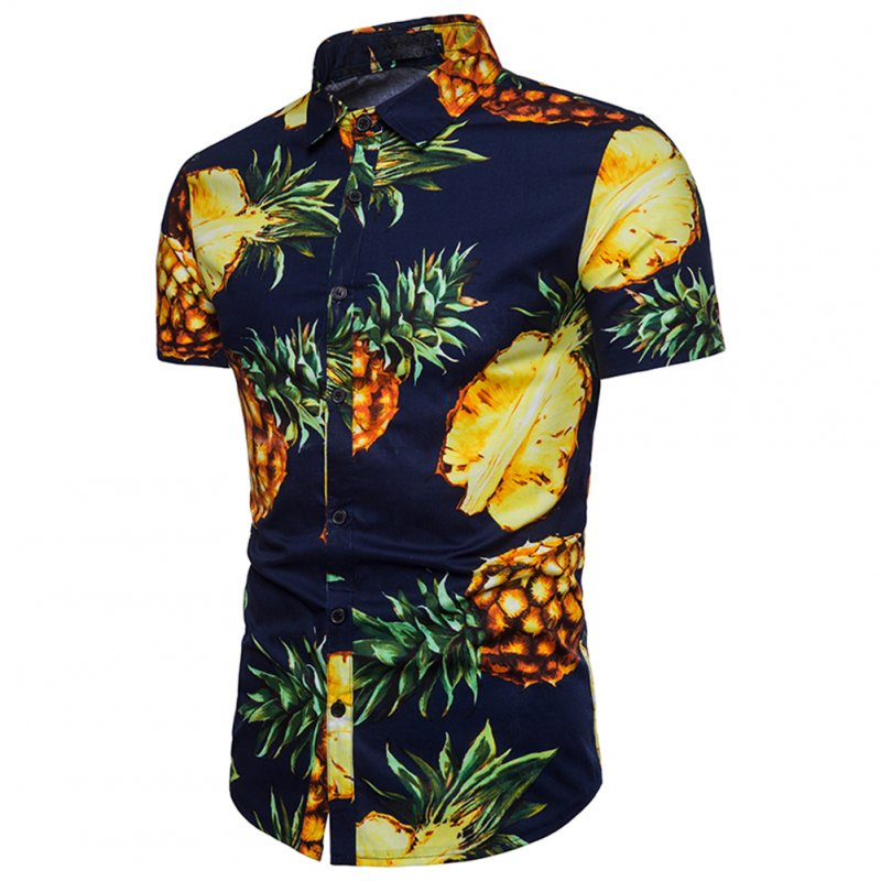 Men Pineapple Printed Casual Short Sleeve Beach Shirt Navy_XL