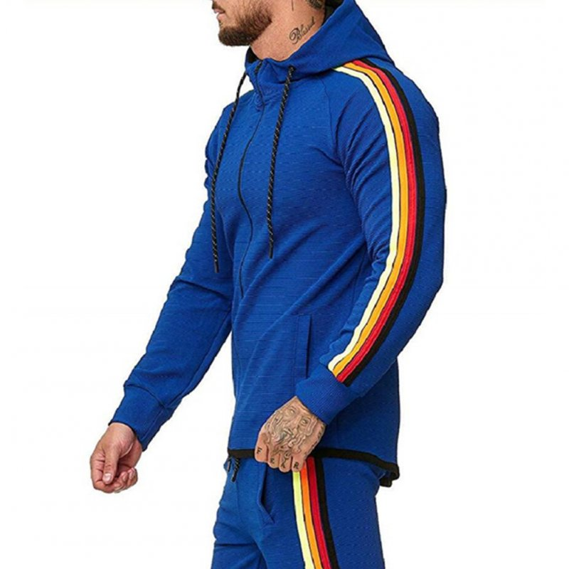 Men Pinstripe Sweatshirt Color Stripe Fashion Zipper Cardigan Hooded Sweatshirt blue_XXXL