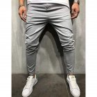 Men Plaid Casual Pants Fashion Sports Pants gray_3XL