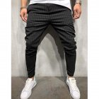 Men Plaid Casual Pants Fashion Sports Pants black_L