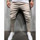 Men Plaid Casual Pants Fashion Sports Pants Khaki_XL
