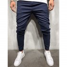Men Plaid Casual Pants Fashion Sports Pants Navy_3XL