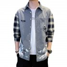 Men Plaid Printing Shirt Long Sleeve Autumn Teenagers Loose Blouse gray_2XL