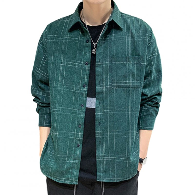 Men Plaid Printing Shirt Autumn Teenagers Loose Large Size Blouse Dark green_M