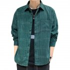 Men Plaid Printing Shirt Autumn Teenagers Loose Large Size Blouse Dark green_XL