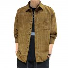 Men Plaid Printing Shirt Autumn Teenagers Loose Large Size Blouse Dark khaki_L