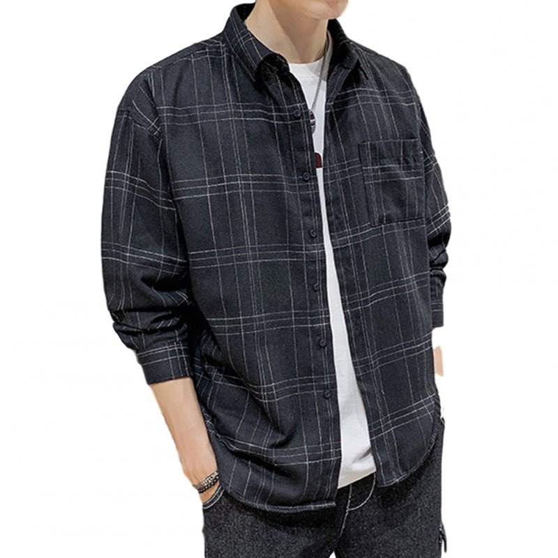Men Plaid Printing Shirt Autumn Teenagers Loose Large Size Blouse Black hemp_2XL