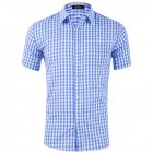 Men Plaid Short Sleeve Shirts Solid Color Cotton Lapel Collar Casual Tops