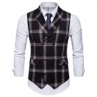 Men Plaid Suit Waistcoat Leisure Style Slim Double-breasted Waistcoat Black grid_2XL