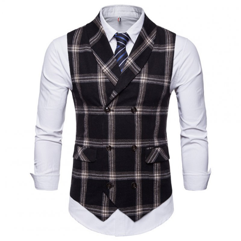Men Plaid Suit Waistcoat Leisure Style Slim Double-breasted Waistcoat Black grid_3XL