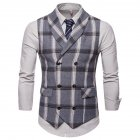 Men Plaid Suit Waistcoat Leisure Style Slim Double-breasted Waistcoat Gray plaid_3XL