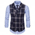 Men Plaid Suit Waistcoat Leisure Style Slim Double breasted Waistcoat Navy blue plaid L