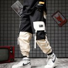 Men Pockets Retro Contrast Color Cargo Pants Patchwork Casual Jogger Fashion Trousers Tide Harajuku Streetwear Khaki_L