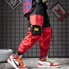 Men Pockets Retro Contrast Color Cargo Pants Patchwork Casual Jogger Fashion Trousers Tide Harajuku Streetwear red_M