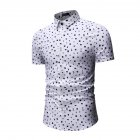 Men Printing Shirts Short Sleeve Cotton Square Collar Brethable Tops  white L