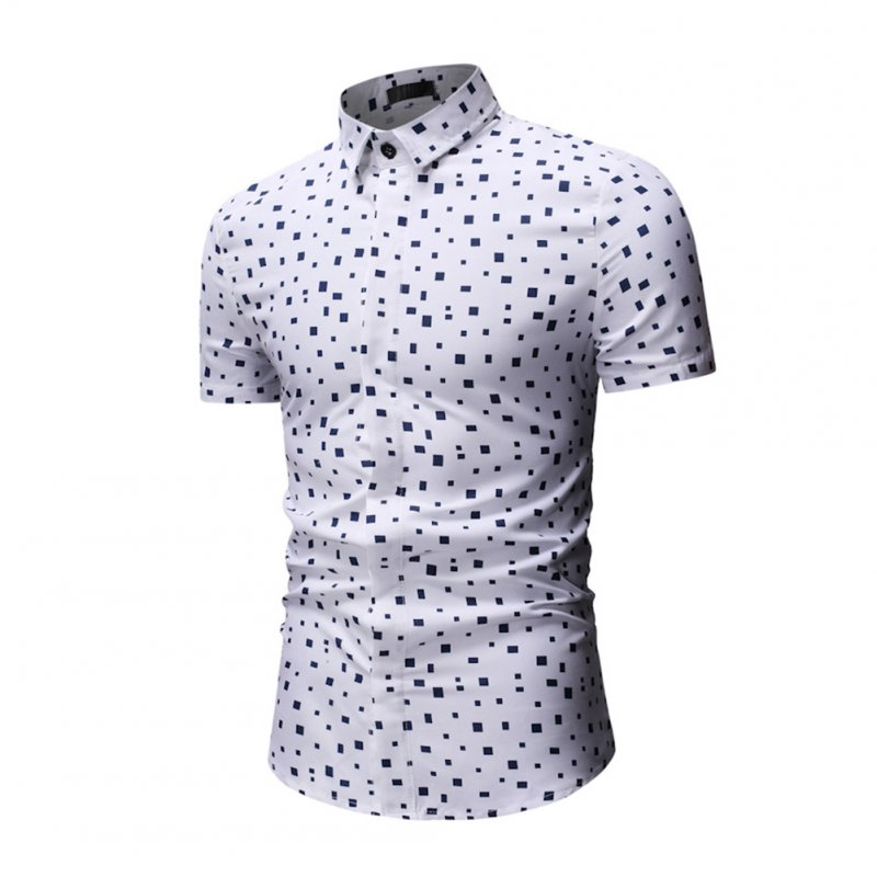 Men Printing Shirts Short Sleeve Cotton Square Collar Brethable Tops  white_L