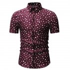 Men Printing Shirts Short Sleeve Cotton Square Collar Brethable Tops  red_L