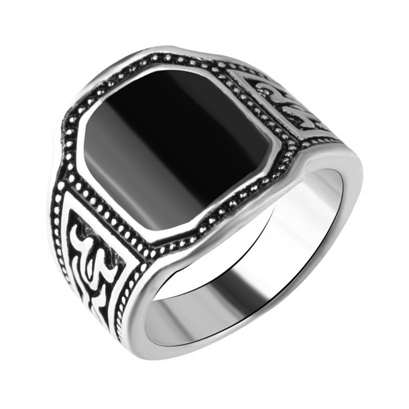 Men Punk Style Retro Black Artificial Gemstone Ring Fashion Finger Rings for Halloween Ancient silver black_8#