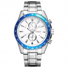 Men Quartz Watch Waterproof Stainless Steel Band Fake Sub-dial Male Business Wristwatch White