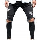 Men Retro Fashion Pencil Pants Frayed Slim Fit Denim Pants Break Hole Jeans 2009 black_L