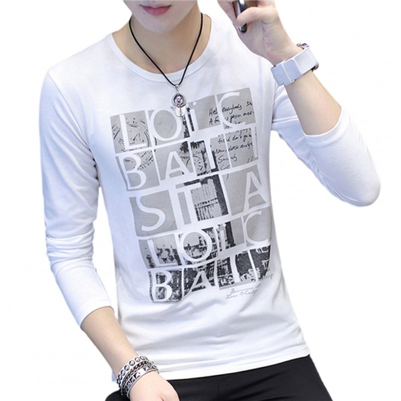 Men Round Collar Long Sleeves Casual Dating Bottom Shirt for Autumn Spring Square letter white_M