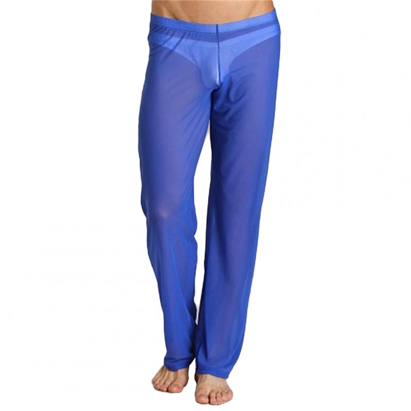 Men Sexy See-through Net Yarn Low Waist Trousers Breathable Comfortable Long Pants blue_L