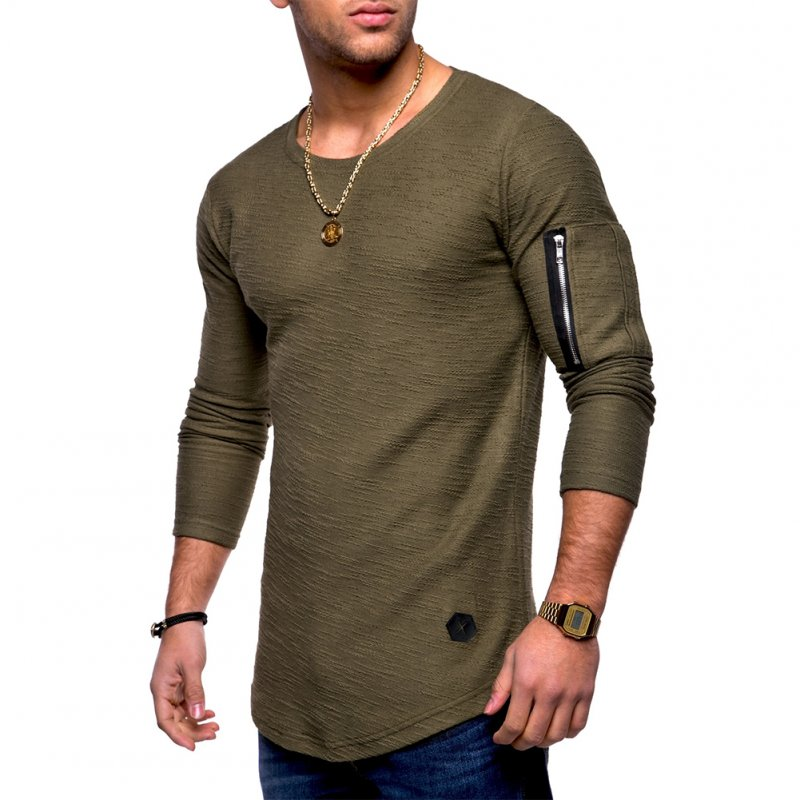 Men Shirt Casual Long Sleeve Zipper Pocket Pullover Slim Fit Top Army Green_M