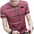 Men Short Sleeve Fashion Printed T-shirt Round Neck Tops red_L