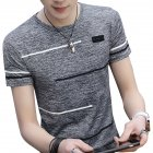 Men Short Sleeve Fashion Printed T-shirt Round Neck Tops gray_XXXL