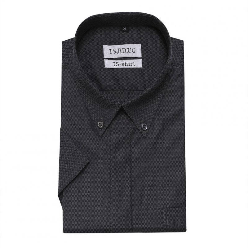 Men Short Sleeve Formal Shirt Casual Autumn Lapel Business Shirt for Adults Black_XXL