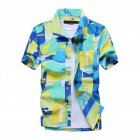 Men Short Sleeve Printing Quick Dry Loose Beach Shirt green_L