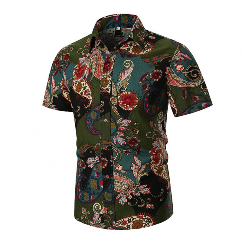 Men Short Sleeve Shirt Fashionable Printed Slim Fit Tops green_L