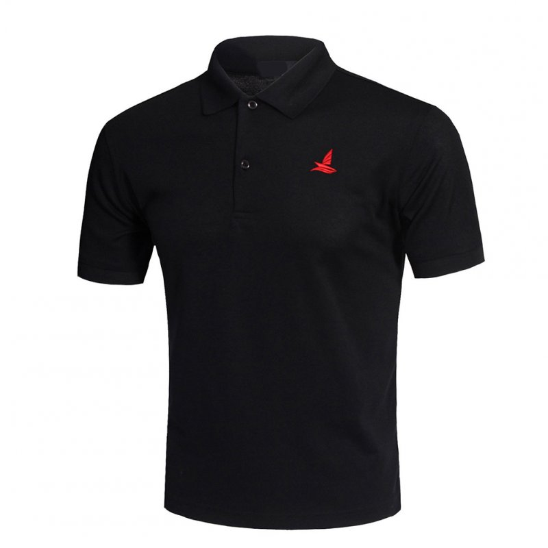 Men Short Sleeve Shirts Solid Color Lapel Collar Casual Tops for Daily Sports Wearing black_XL