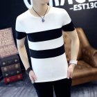 Men Short Sleeve T-shirt Round Collar Stripes Pattern Casual Tops  white_L (60 kg)