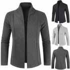 Men Simple Cardigan Slim Sweater Jacket Men V-collar Sweater Dark gray_L
