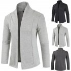 Men Simple Cardigan Slim Sweater Jacket Men V-collar Sweater light grey_L