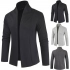 Men Simple Cardigan Slim Sweater Jacket Men V-collar Sweater black_M