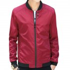Men Simple Casual Baseball Jacket Solid Color Stand up Collar Coat  red L