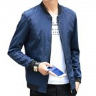 Men Simple Casual Baseball Jacket Solid Color Stand up Collar Coat  blue M