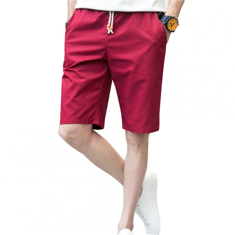 Men Simple Casual Beach Shorts  Red wine_L
